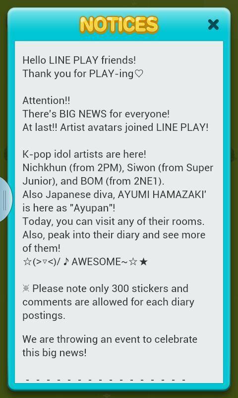 Notice from Line Play Application - BOM, Nickhun, Siwon, Ayumi Hamazaki on the game